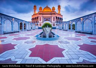 Brunei Sultanate - Borneo Island - Bandar Seri Begawan - Jame Asr Hassanil Bolkiah Mosque at Dusk - Twilight - Blue Hour
