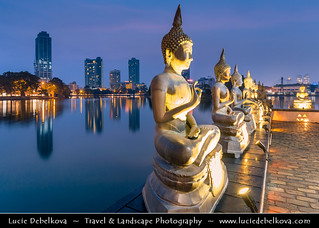 Sri Lanka - Ceylon - Colombo - Seema Malaka - Buddhist temple on Beira Lake at Dusk - Blue Hour - Twilight - Night