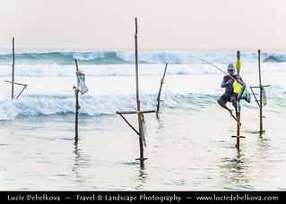 Sri Lanka - Weligama - Stilt Fisherman - Traditinal and unique way of fishing