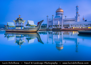 Brunei - Bandar Seri Begawan - Sultan Omar Ali Saifuddien Mosque at Dusk - Twilight - Blue Hour - Night