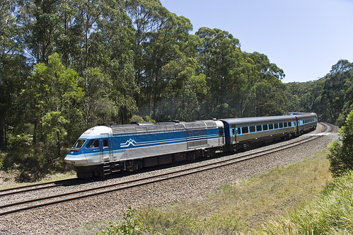XPT2003 leads ST23 through Mt Murray, Unanderra to Moss Vale Railway, NSW, 18th  January, 2009.