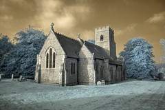 Infrared HDR St Andrew's church Thursford Norfolk