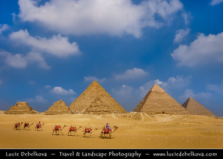 Egypt - Caravan at Pyramids of Giza – Famous landmark – One of Seven Wonders of the Ancient World