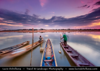 Laos - Vientiane - Life in Motion on Mekong River after Sunset