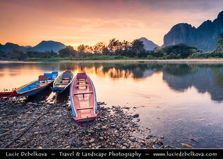 Laos - Vientiane - Sunset on Mekong River after Sunset