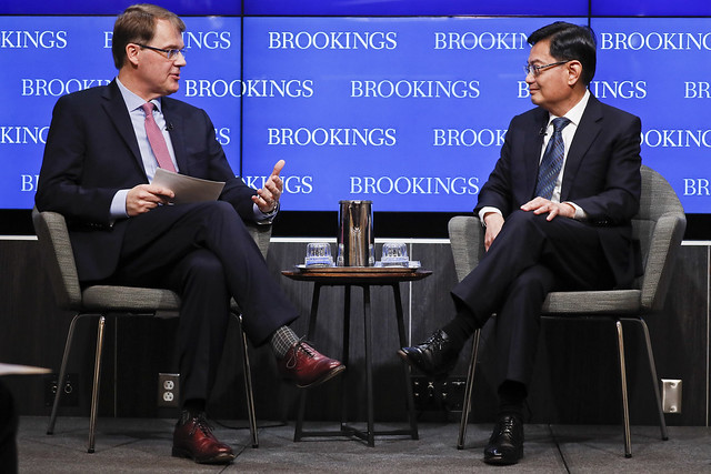 Jonathan Stromseth, a Senior Fellow in Foreign Policy at the Brookings Institution, moderates a conversation with Finance Minister Heng Swee Keat.
