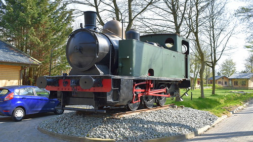 Old steamtrain preserved at a camp side in Wieringerwerf, The Netherlands