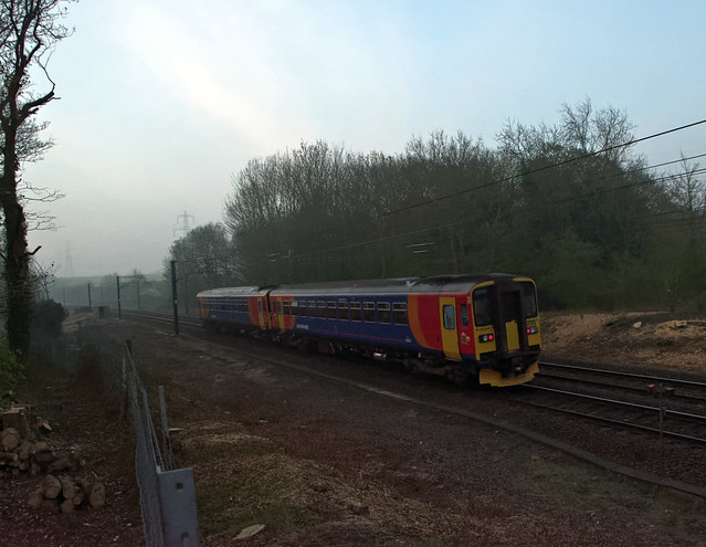 153326 and 153311 on the ECML at Highdyke near Grantham at 0557 on April 19th 2019 with 2E01 0507 Nottingham to Spalding.