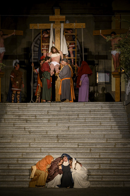 Brunete, Spain - April 11, 2019: Theatrical performance of El Nazareno in the Plaza Mayor of the town by the neighbors