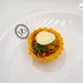Chili crab tartlet with quail egg