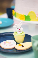 Easter bunny on a sweet cup cake