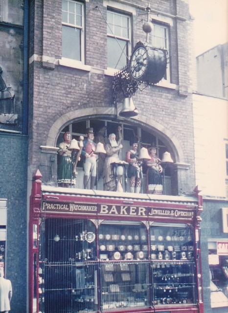 GLOUCESTER jeweller's shopfront clock - GA Baker & Son - Aug1977