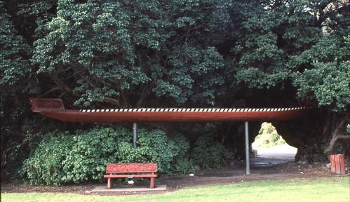Whakatane, canoe bench and sculpture, July 14, 1995