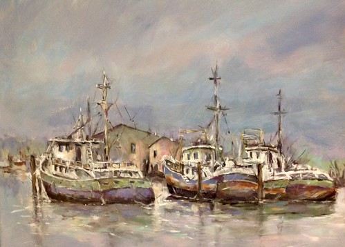 Acryl 90x70cm Harbor impression .