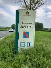 Ortsschild von Amettes, Frankreich