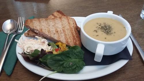Lentil Soup and Ham Toastie, Delnashaugh Hotel, Ballindalloch, Speyside, Feb 2019