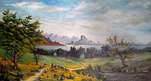 Pintura al óleo de un paisaje impresionista