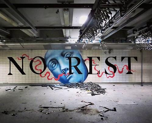 #restisforthedead / #streetart by #kymoOne. . #Lokeren #urbanart #graffitiart #streetartbelgium #graffitibelgium #graffiti #muralart #streetartlovers #urbex #graffitiart_daily #streetarteverywhere #streetart_daily #ilovestreetart #igersstreetart #urbex #r