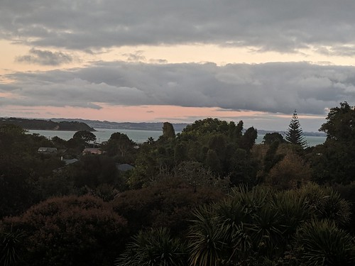 Sunset from the apartment in Oneroa