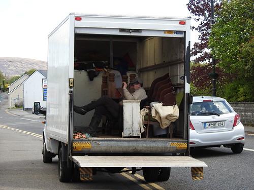 Market trader in his van