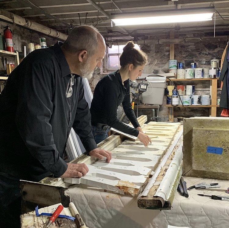Associate Professor Jeffrey Chusid oversees a student during CRP's Work Weekend at the Oneida Community Mansion House.  photo / Dorothy Qian (M.R.P. '20)