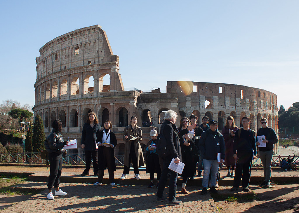 Cornell in Rome visiting critic Jan Gadeyne lectures about the Palatine Hill in front of the Colosseum.  photo / Joyce Jin (B.Arch. '21)