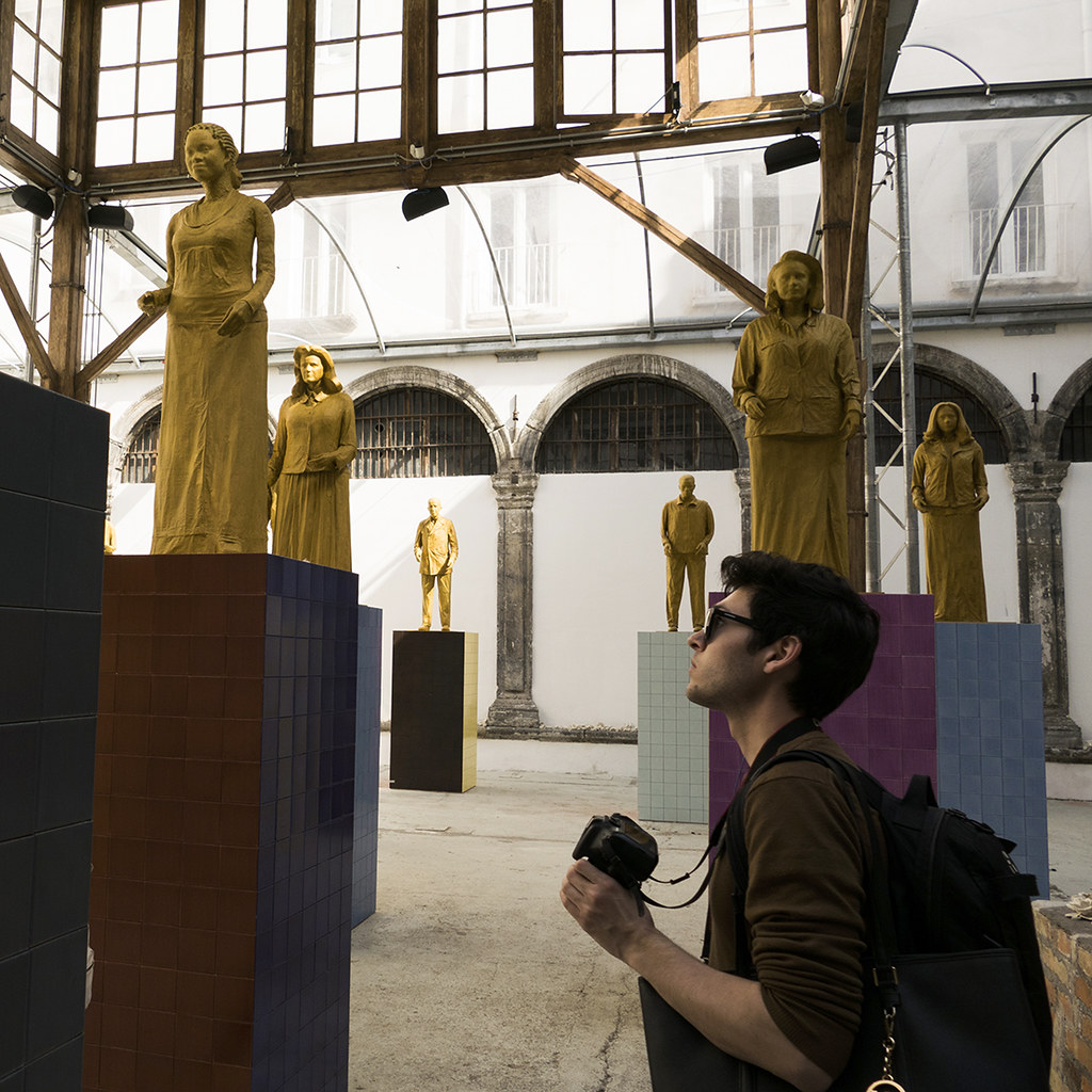 Benjamin Magin (B.Arch. '21) takes photos of Liu Jianhua's Monumenti exhibition at Made in Cloister Foundation in Napoli, during a trip to southern Italy.  photo / Lang Dong (B.Arch. '21)