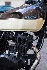Brixton motorcycle close-up of engine and fuel tank