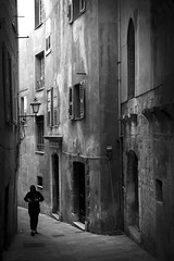 Image by fredMin (fredmin) and image name Pedestrian Silhouette photo  about Old city of Grasse