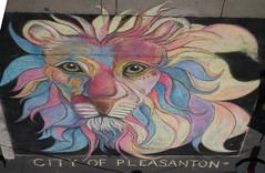 Multi-colored Lion - The Big Draw - Chalk Art on Pleasanton Street