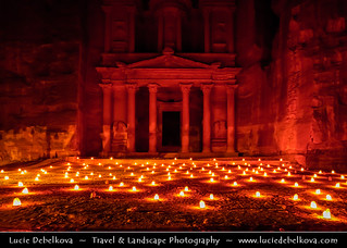 Jordan - Petra's Treasury under Candle Light