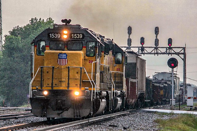 UP 1539 leads the local from Little Rock north on the Hoxie Sub through Bald Knob, Arkansas.