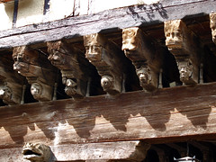Just a few of the carvings on the 'Maison des Consuls' in the market place, Mirepoix, France. - Photo of Lagarde