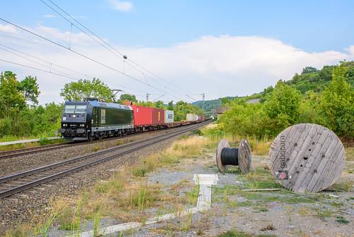 Metrans 185 545 met containertrein, Burgbernheim