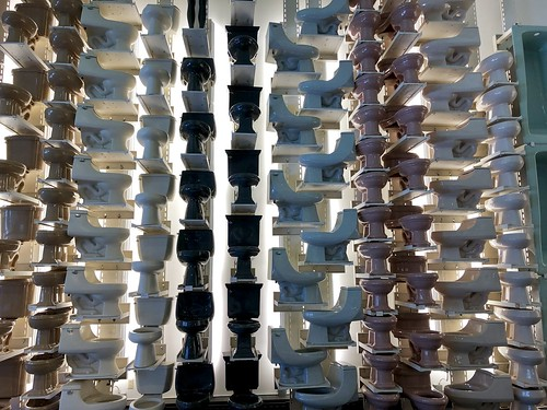 Great wall of toilets, Kohler Design Center, Kohler, Wisconsin