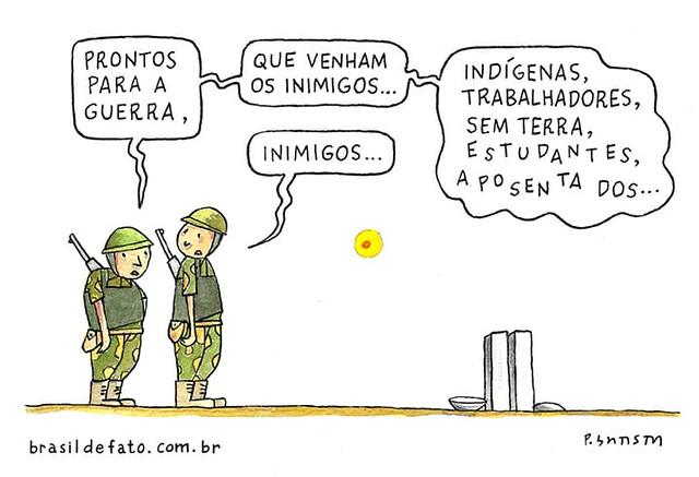 Homens do Exército são convocados para atuar na Praça dos Três Poderes - Créditos: Charge: Paulo Batista