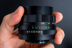 Side view of a Helios 44M 58mm F2