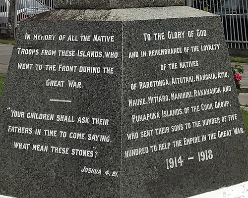 Cook Islands Great War Monument Inscription