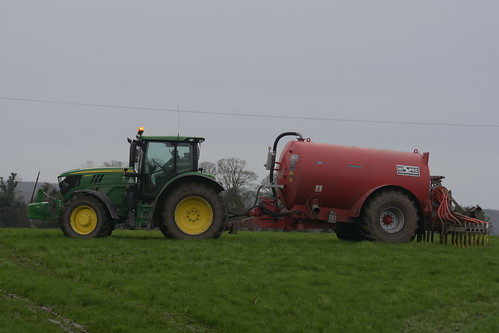 John Deere 6145R Tractor with a HiSpec 2300 Vacuum Slurry Tanker & Mastek Dribble Bar