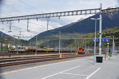 Abstell, und Rangiergeleise im Bahnhof Brig, Blick richtung Nordportal des Simplonbahntunnels