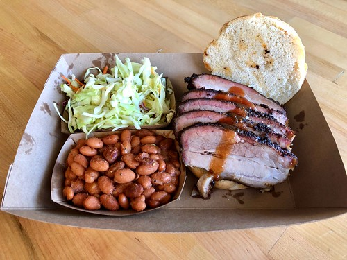 Duroc Pork Belly Sandwich with Cranberry Coleslaw and Pinto Beans
