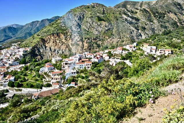 Approaching highest hillside village of Othos, Karpathos, Greece.