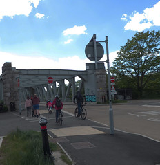 Cycling and Walking by Ashton Avenue Bridge  02