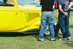 Yellow Car and Cuffed Jeans