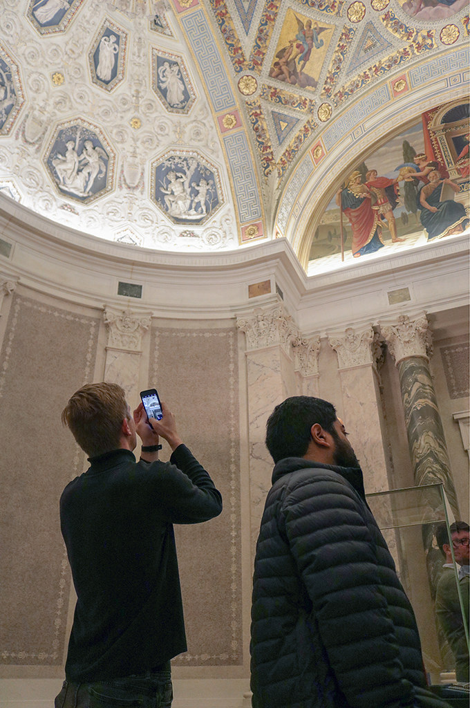 Lawson Spencer (M.Arch. '20) and Kashyap Valiveti (M.Arch. '20) admire the ceiling of the foyer at the Morgan Library.   photo / Allison Bernett (M.Arch. '20)
