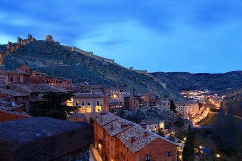 Pink roofs in Albarracín. Albarracín, Aragon, Spain
