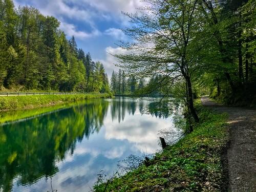 Gfall Stausee at Mühlbach creek near Oberaudorf, Bavaria, Germany