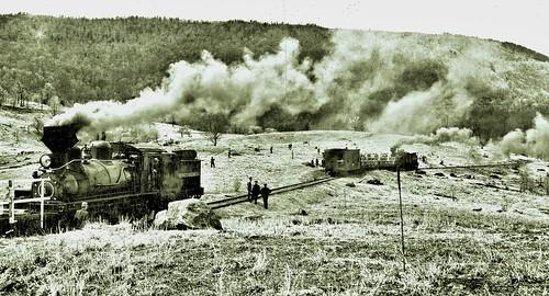 Cass Scenic railroad Shay locomotives headed up Bald Knob., WV 4-23-1961 NARA95-GP-1498-Box0331_042_001_AC