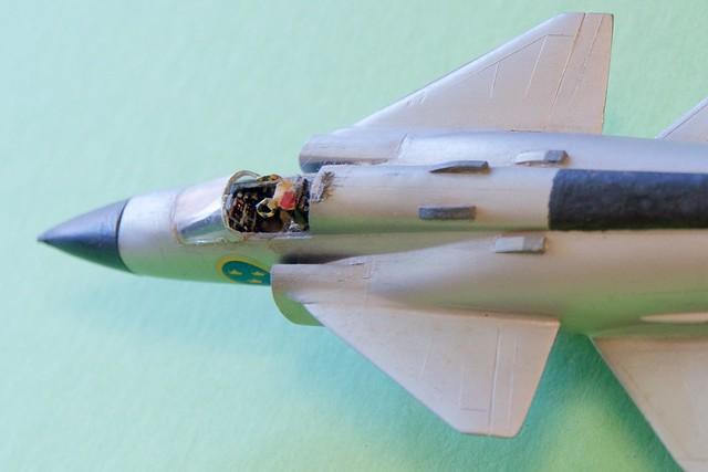 Photo:Hasegawa 1/72 SAAB AJ-37 Viggen cockpit closeup survivor built 1975 DSC_0083 By wbaiv