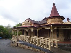 Wayville. Mawson House built in 1909 in Queen Anne style with the corner rounded tower and spire. Built for a chaff merchant George Branson.